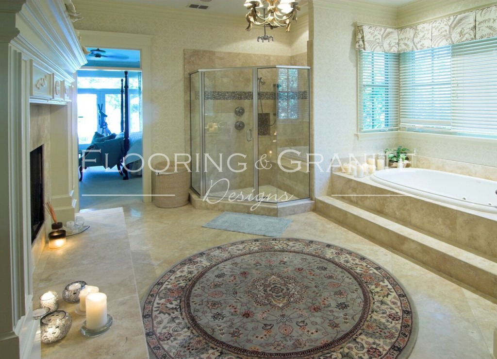 Luxury bathroom  with tile granite and glass enclosure